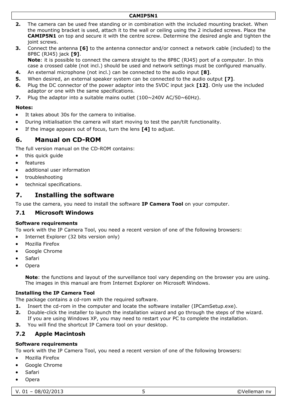notes manual on cd rom installing the software velleman camip5n1 rh manualsdir com