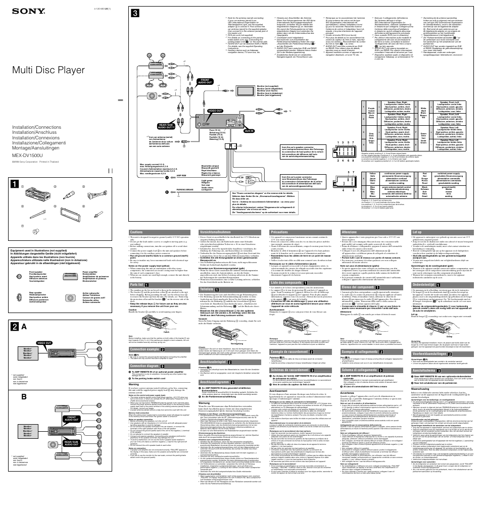 Sony MEX-DV1500U User Manual   2 pages