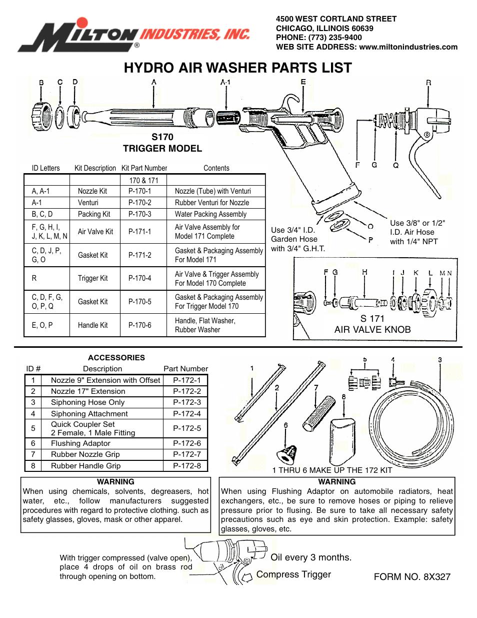 Milton Industries Equipment S170 171 172 Hydro Air Washer
