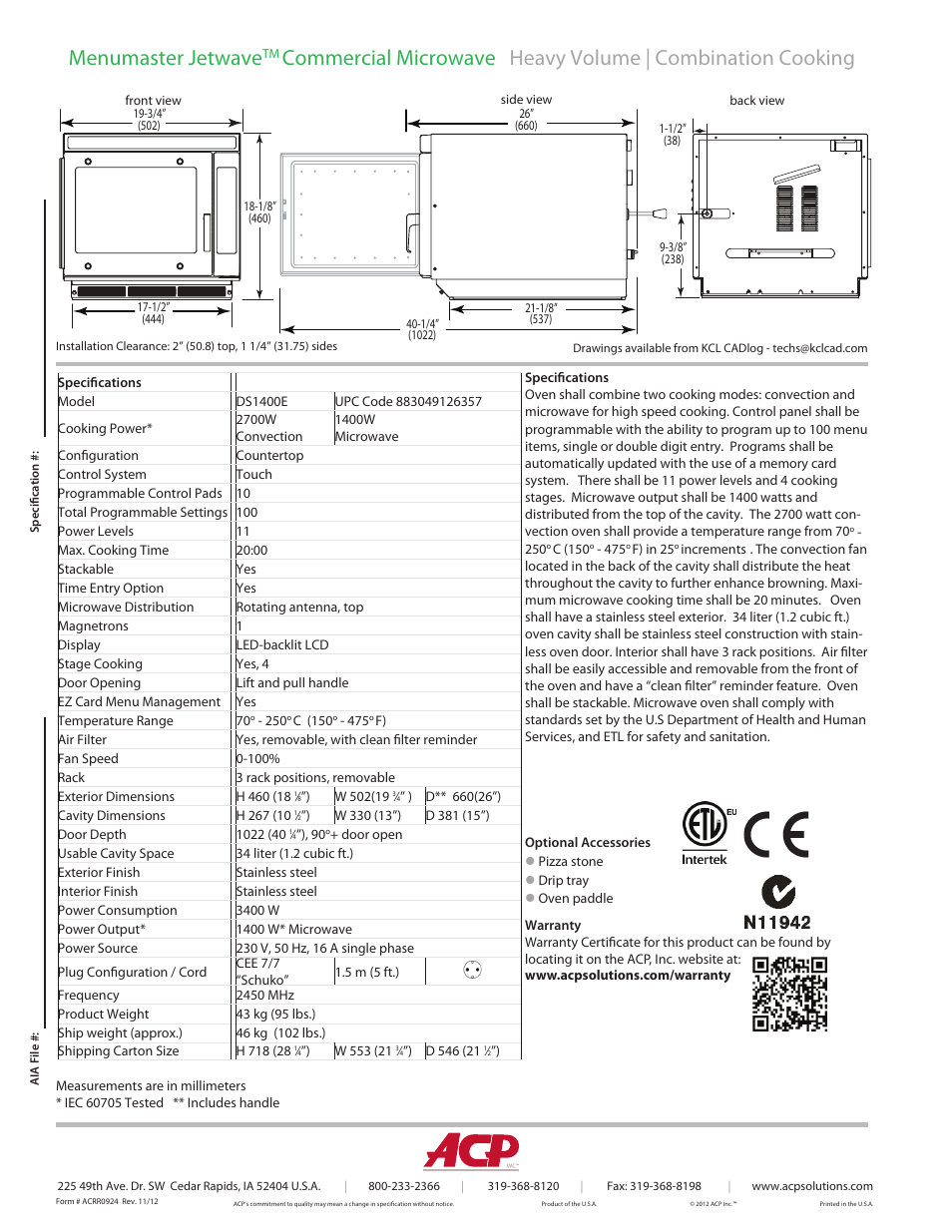 Menumaster jetwave   ACP DS1400E Spec Sheet User Manual   Page 2 / 2