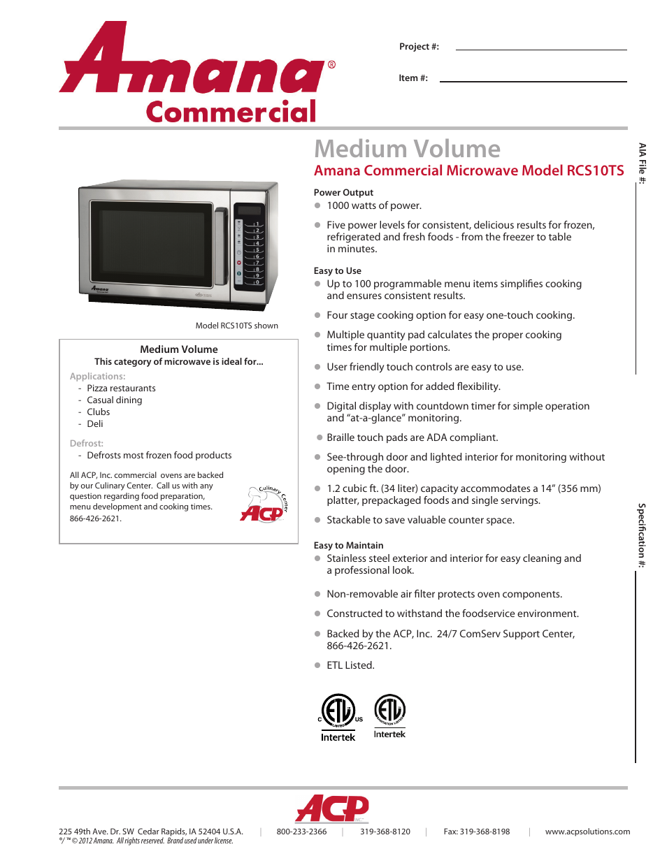 Acp Rcs10ts Spec Sheet User Manual 2 Pages
