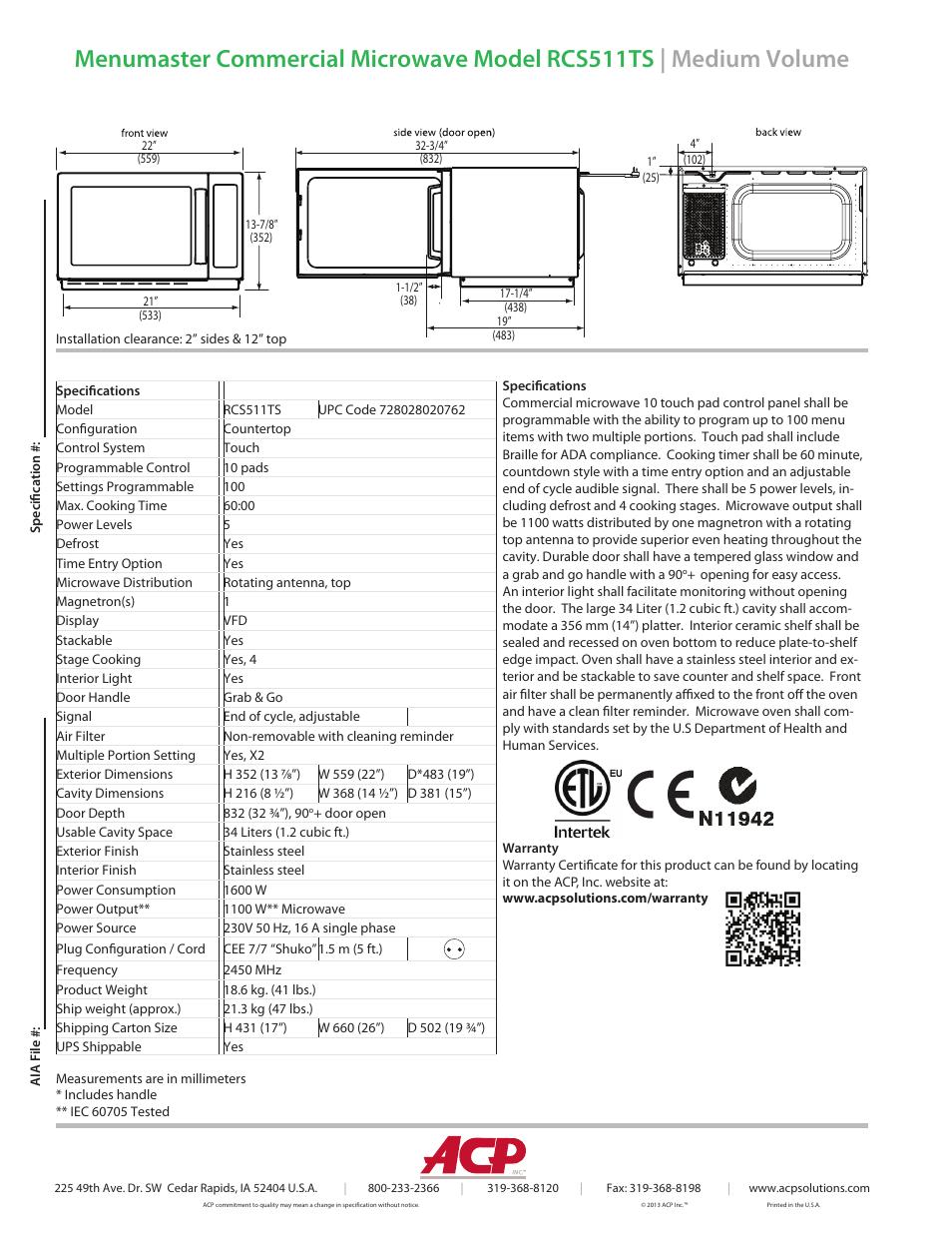 ACP RCS511TS Spec Sheet User Manual   Page 2 / 2
