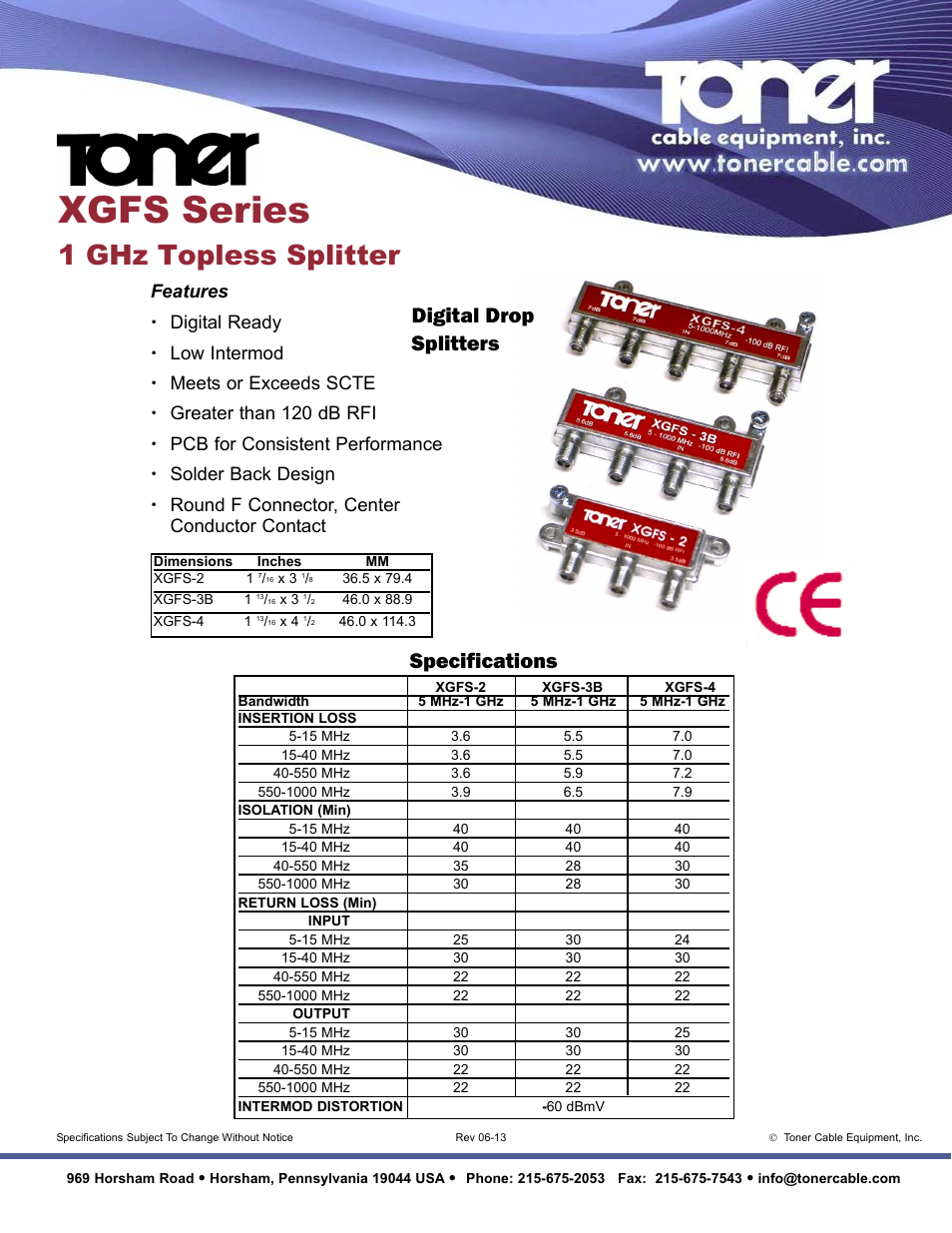 Toner Cable XGFS-2 2 Way 1 GHz Topless Splitters User Manual