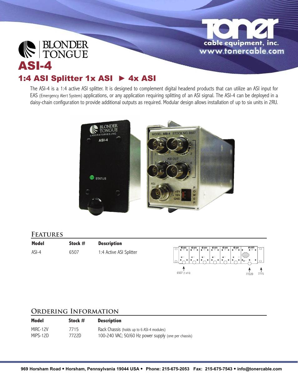 Toner Cable ASI-4 1:4 ASI Splitter 1x ASI - 4x ASI User