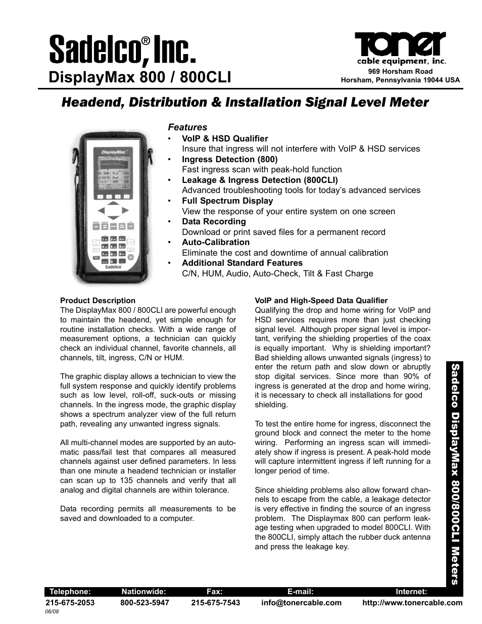 Toner Cable DisplayMax 800 Headend, Distribution & Installation Signal  Level Meter User Manual | 2 pages