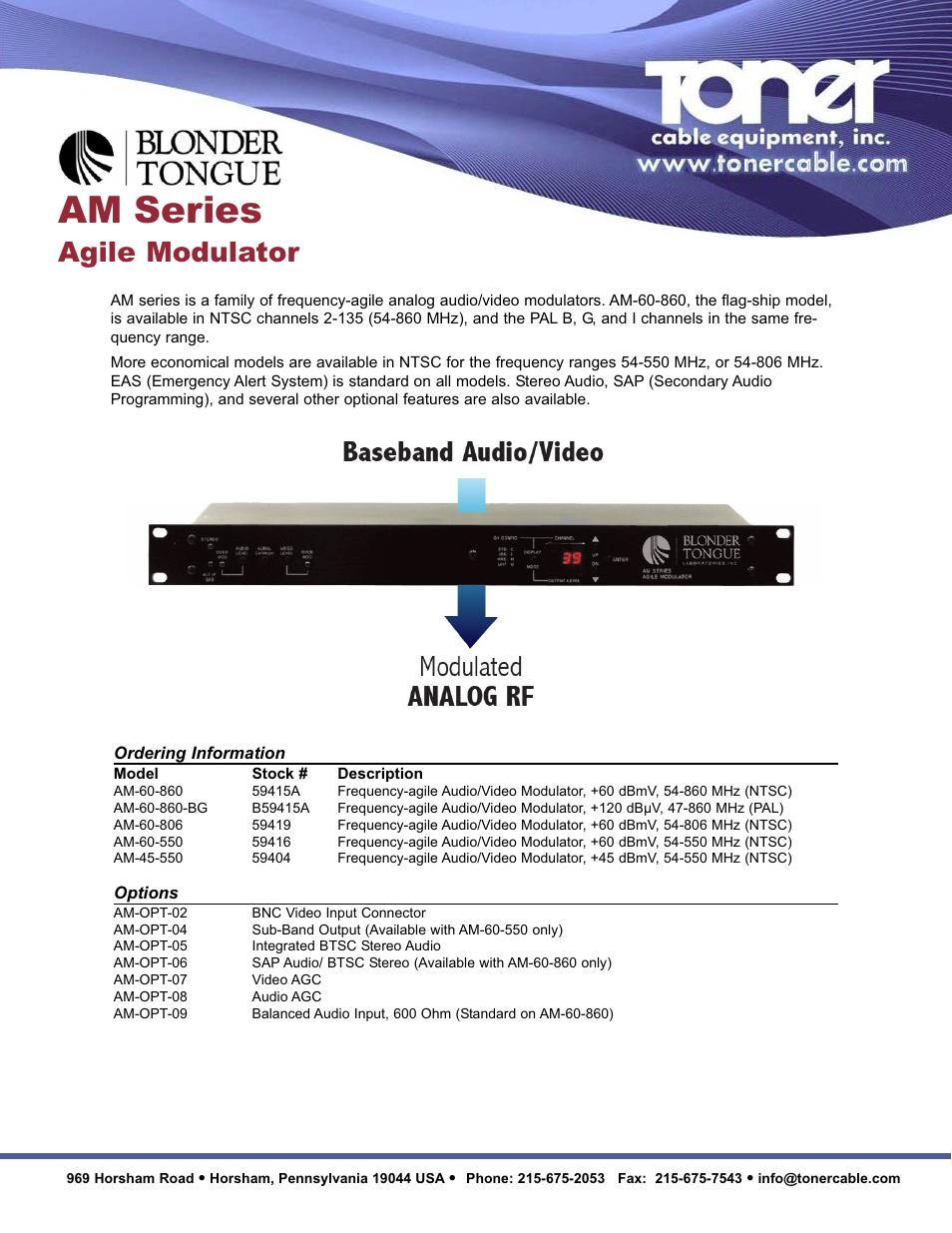 Toner Cable AM Series Agile Modulators User Manual | 2 pages