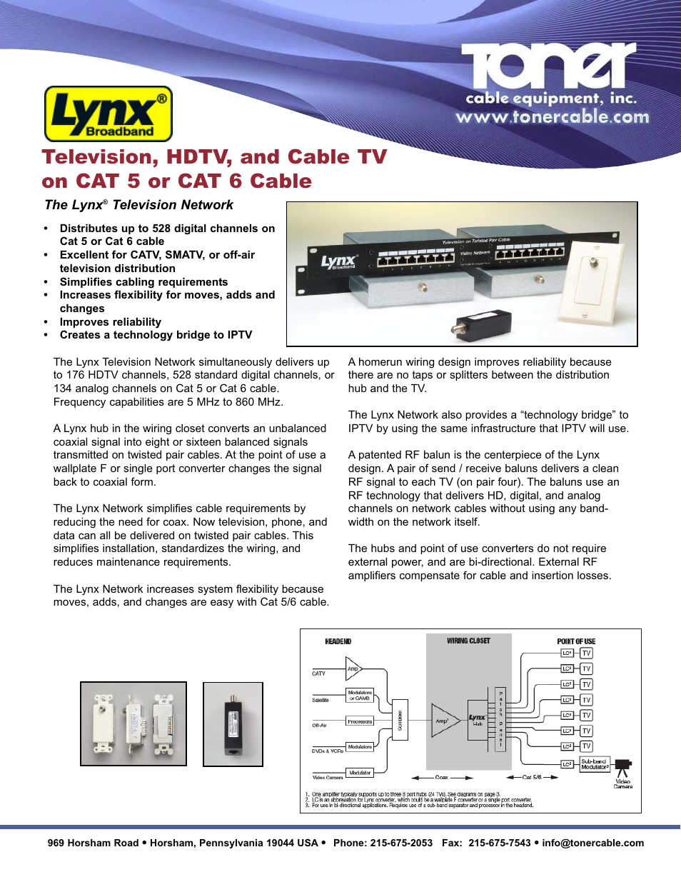 Toner Cable 040 0101 Television Rf On Cat 5 6 8 Port Lynx Wiring For Tv Lt Hub With Rackmount User Manual 2 Pages