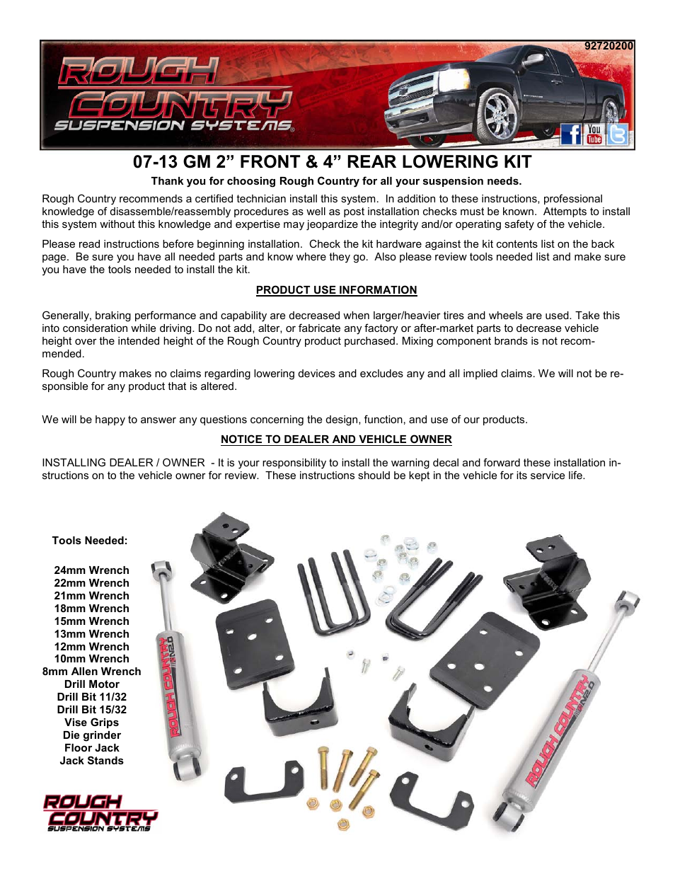 Rough Country 720 20 User Manual | 7 pages