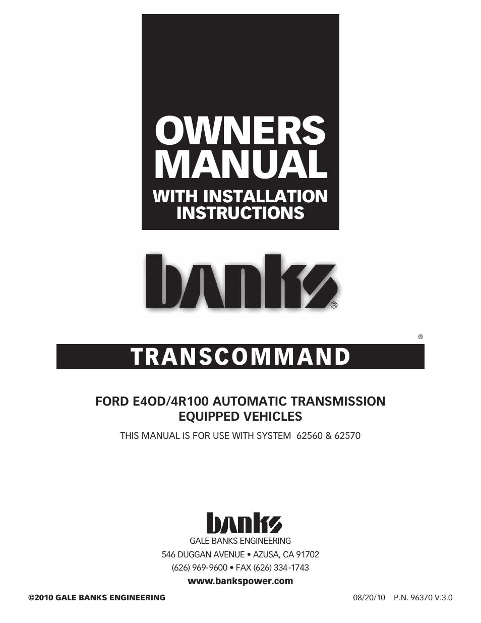 Banks Power 62570 TransCommand; Transmission Management; 4R100 Transmission;