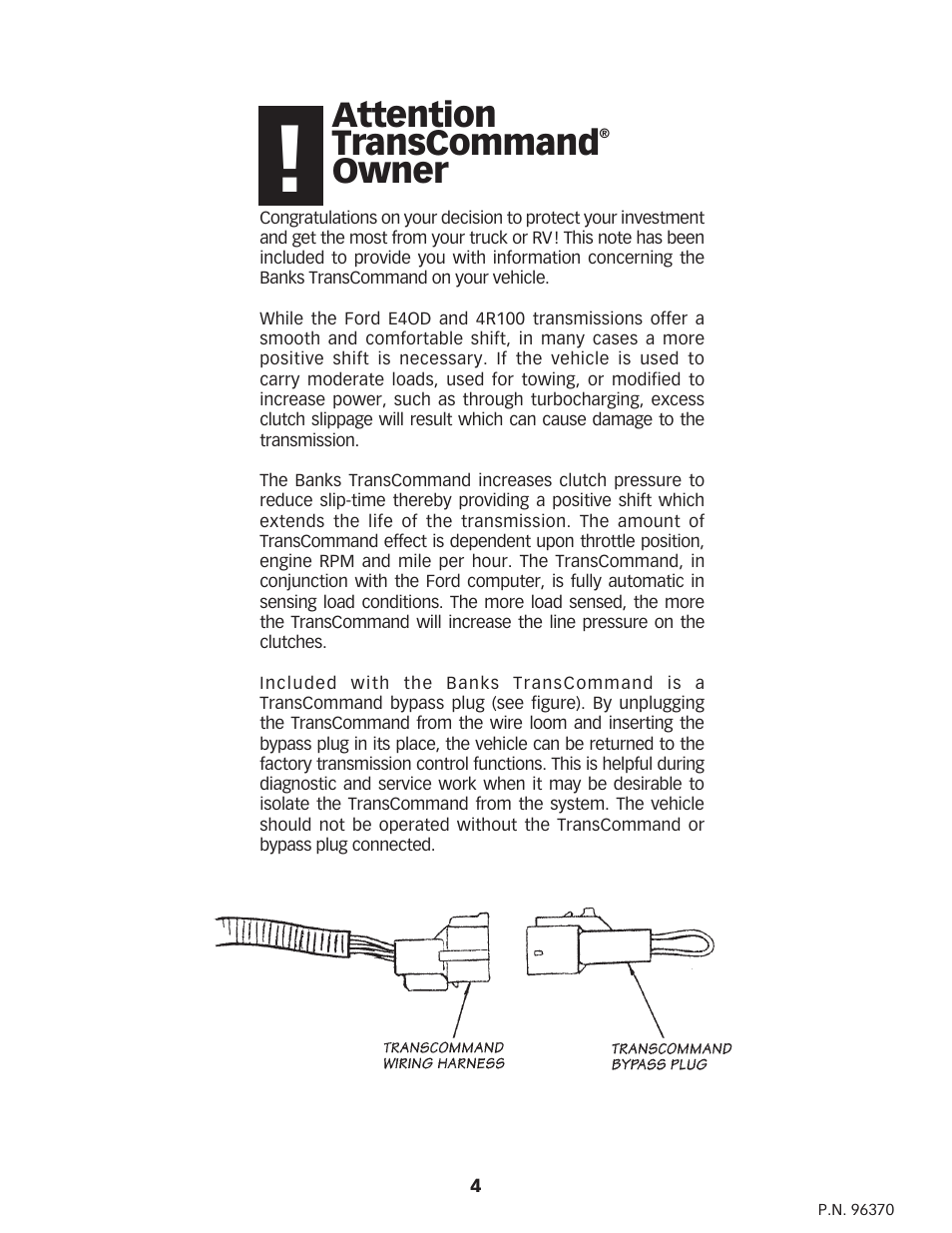 Attention Transcommand Owner Banks Power Ford Trucks Gas 87 E4od Transmission Wiring Harness 97 75l Efi Powertrain For E40d 4r100 Transmissions User Manual Page 4