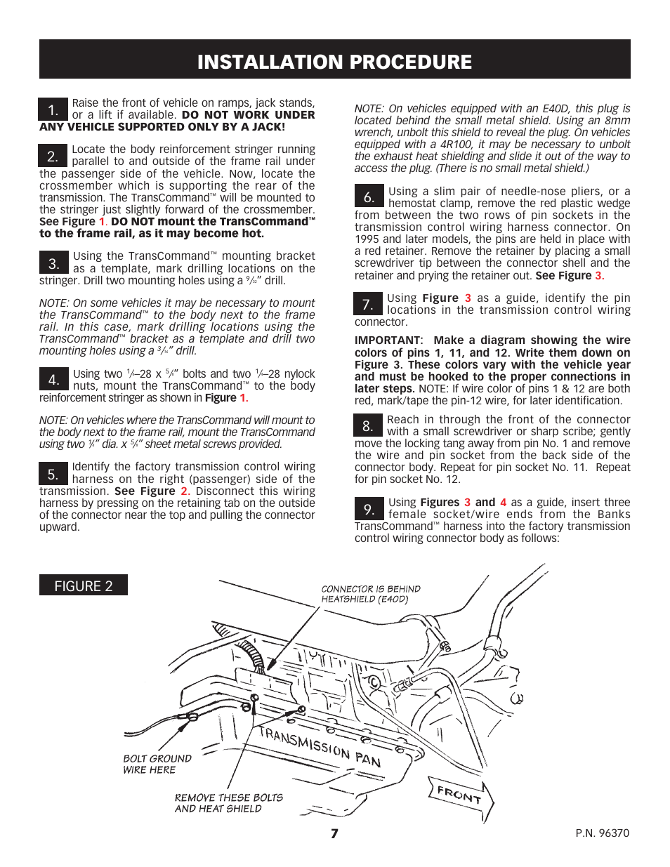 Installation Procedure Banks Power Ford Trucks Gas 87 97 75l Wire Harness Shield Efi Powertrain Transcommand For E40d 4r100 Transmissions User Manual Page 7 10