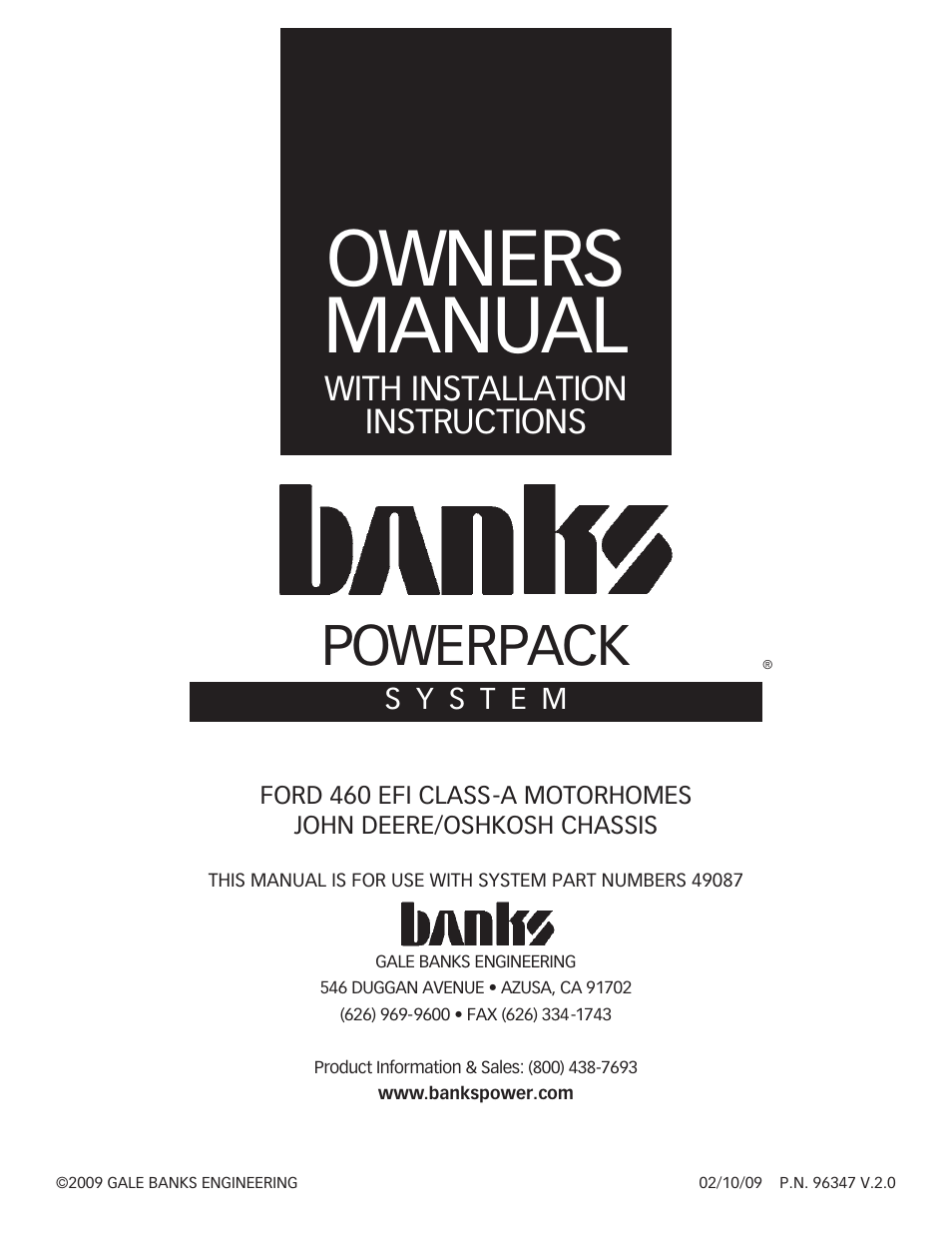 Banks Power Ford Motorhomes: (Gas '93 - 98 7 5L Class-A