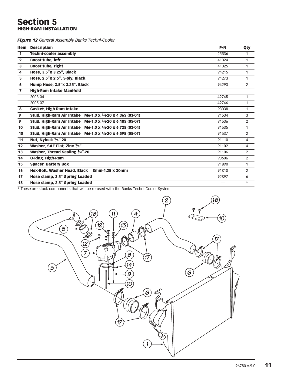 Banks Power Ford Trucks: (Diesel '03 - 07 6.0L Power Stroke) Intake-  Techni-Cooler Intercooler Assembly F250-F350-F450F550 Trucks & Excursions  User Manual ...
