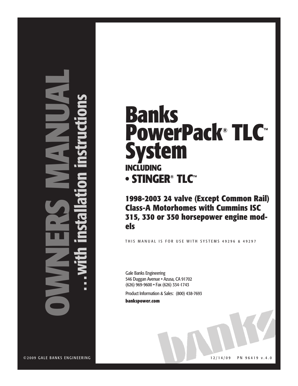 Banks Power Cummins Motorhomes: (Diesel '98 - 03 ISC 8.3L) PowerPack TLC &  Stinger TLC systems '98-03 8.3L, 315, 330 or 350-hp, 24-valve, Class-A MH,  ...
