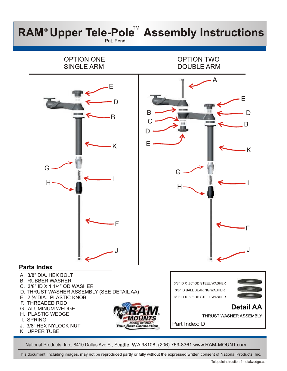 Ram Mount Tele Pole Height Adjustment User Manual 1 Page John Deere 8410 Wiring Diagram