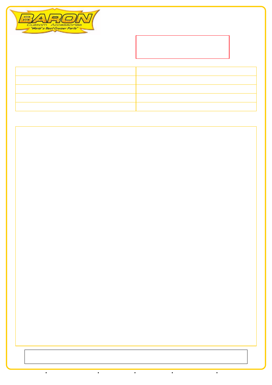Baron Air Fuel Pump Relocation Kit Yamaha Road Star User Carburetor Wiring Harness Manual 3 Pages