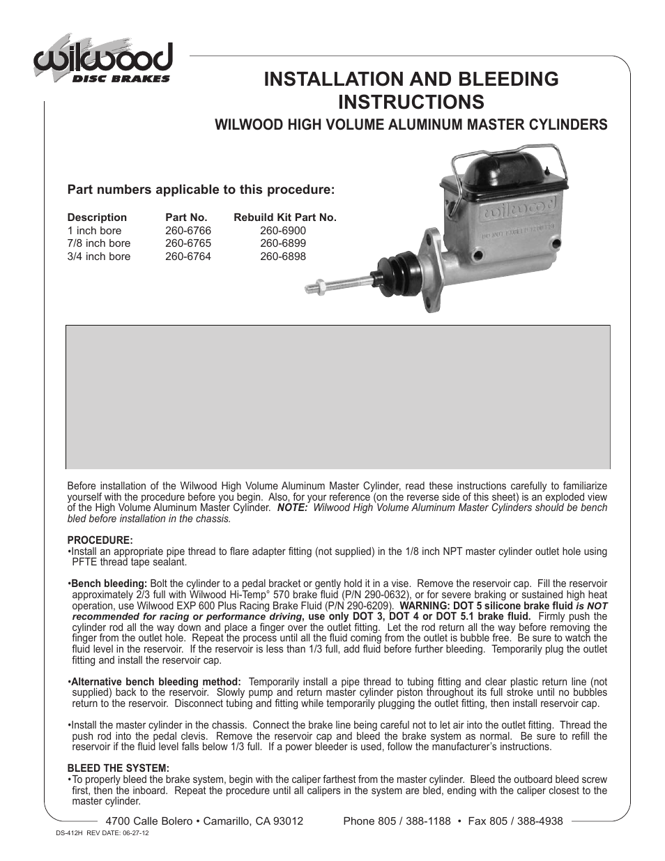 Wilwood High Volume Master Cylinder User Manual | 2 pages