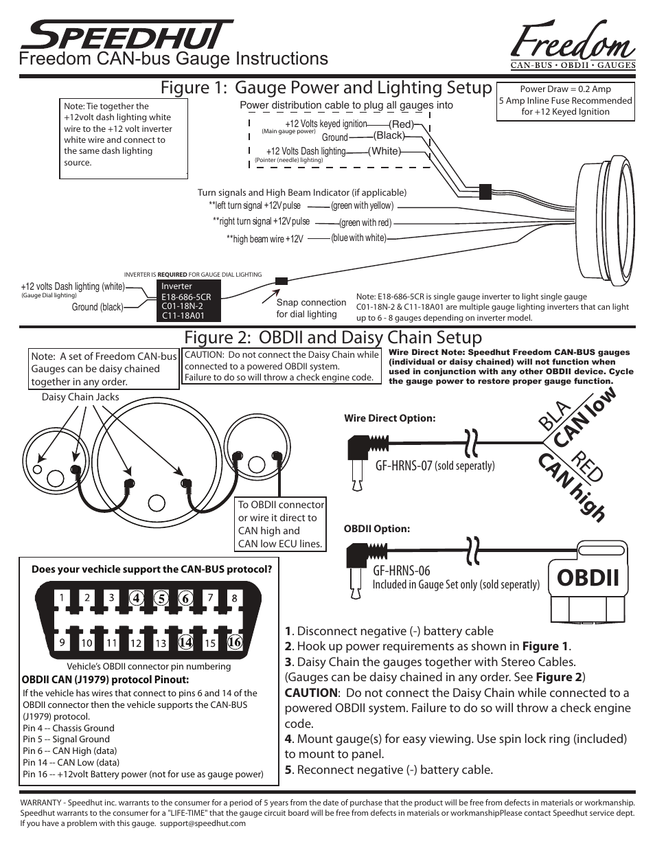 Speedhut Freedom CAN-bus Gauge Installation User Manual   2 pages