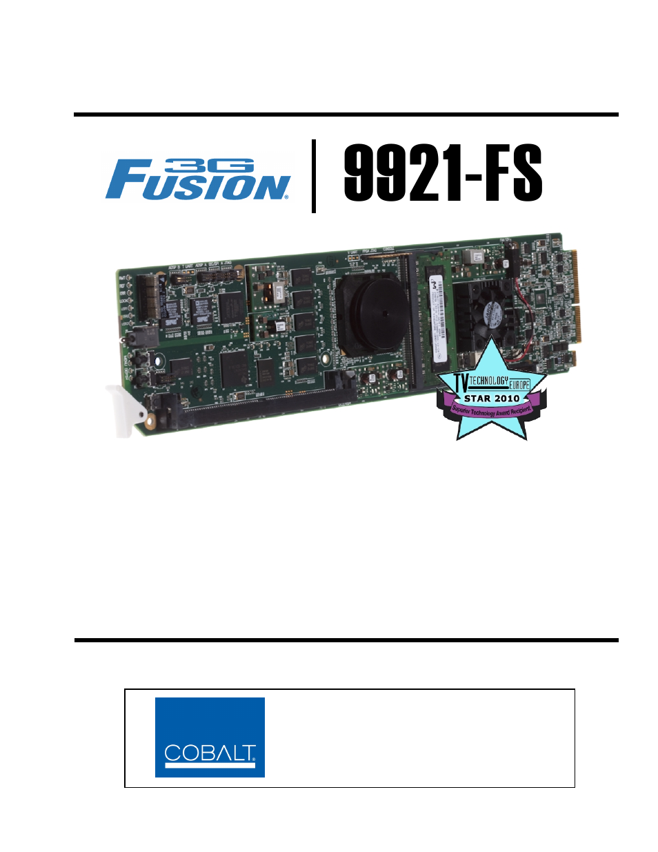 Cobalt Digital FUSION 3G 9921-FS 3G_HD_SD Frame Sync User Manual ...