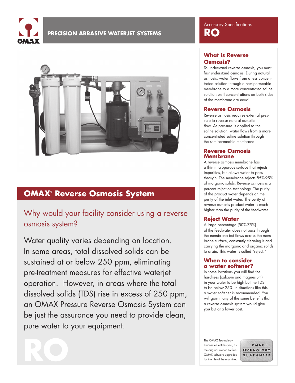 OMAX Reverse Osmosis System User Manual | 2 pages