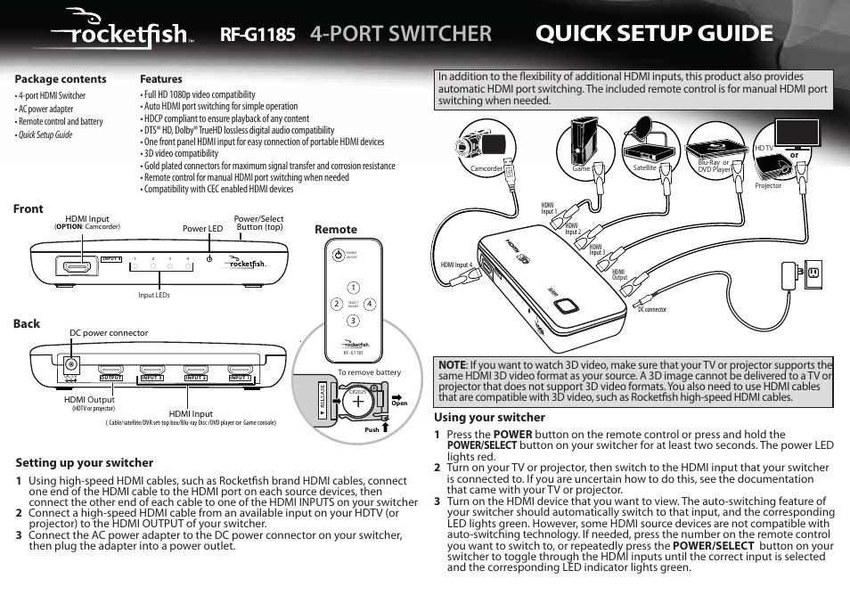 Rocketfish Rf G1185 Quick Setup Manual Pdf Download