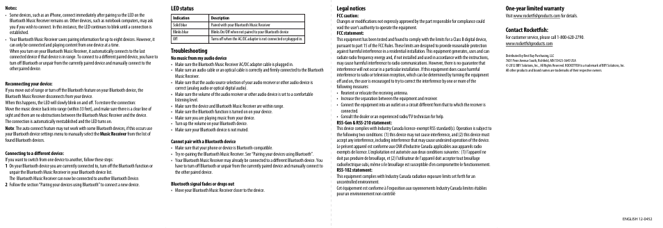 RocketFish RF-BTR212 - Quick Setup Guide User Manual | Page