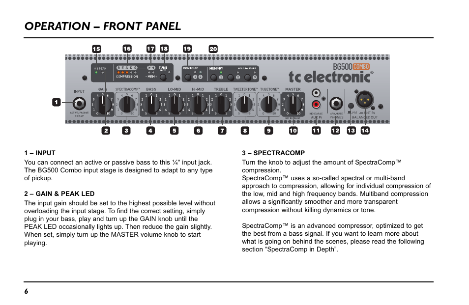 Operation – front panel | TC Electronic BG500 - 210 User