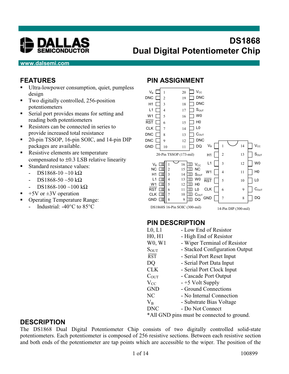 Rainbow Electronics Ds1868 User Manual 14 Pages 256 Tap Digitally Potentiometers