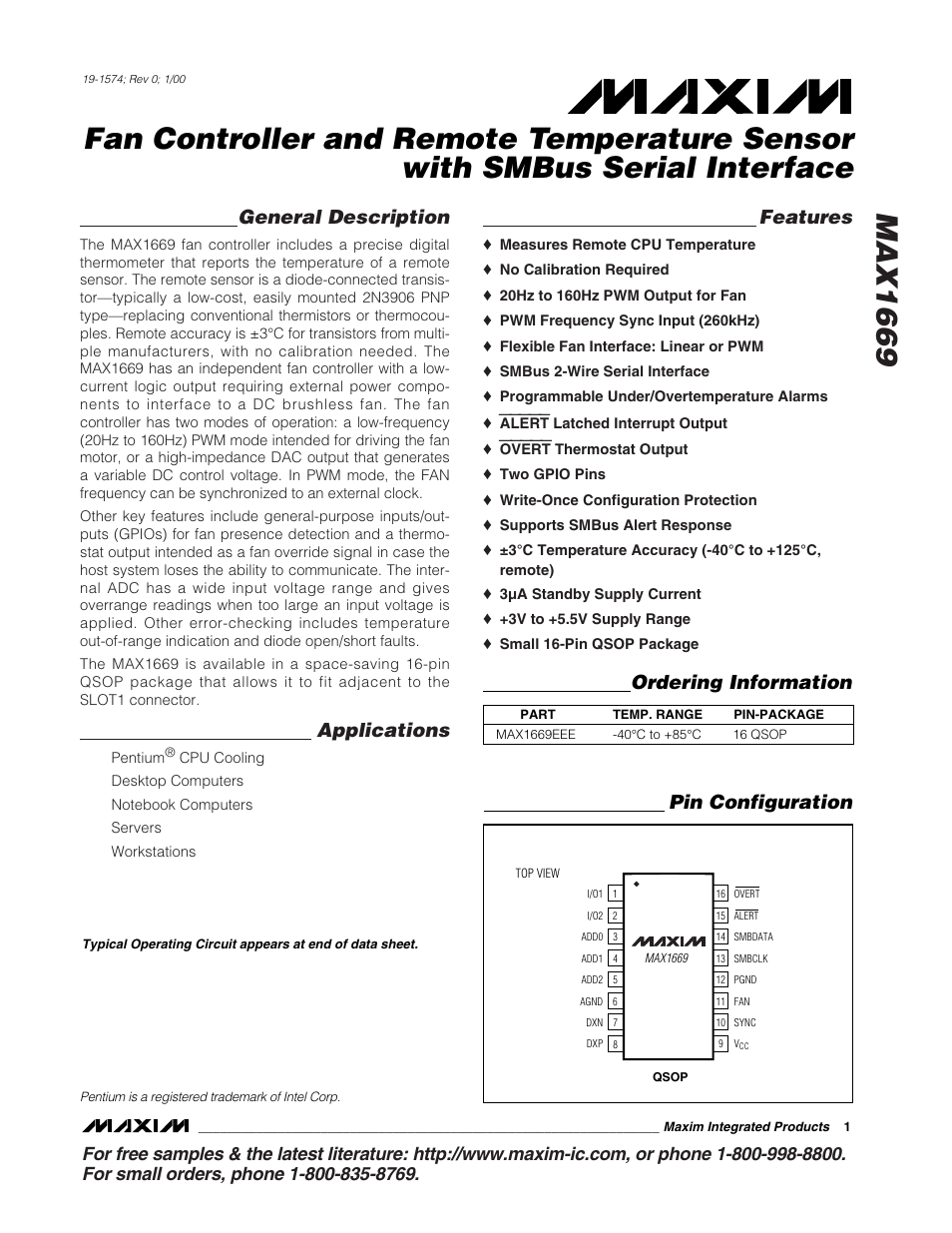 Rainbow Electronics MAX1669 User Manual | 20 pages