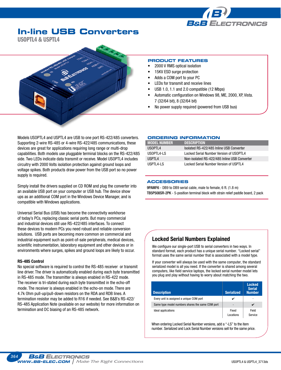 Bb Electronics Usptl4 Ls Datasheet User Manual 2 Pages Usb To Serial Surge And Optical Isolation Converter Rs422 485