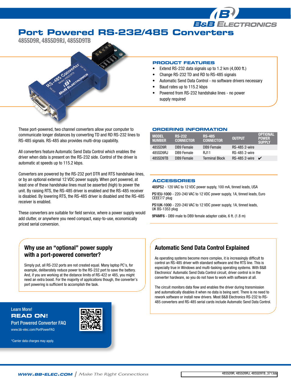 Bb Electronics 485sd9r Datasheet User Manual 2 Pages Circuit Schematic Diagram Rs232 To Rs485 Converter Wiring