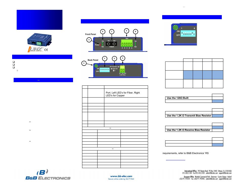B&B Electronics FOSTCDRI-PH-SC - Quick Start Guide User