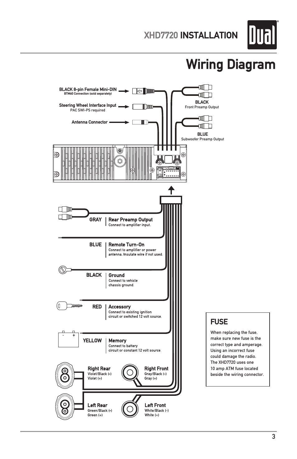 Wiring Diagram Xhd7720 Installation Fuse Dual Electronics 8 Pin Mini Din User Manual Page 3 32