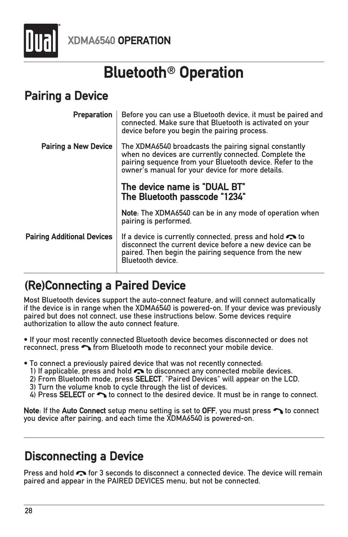 Bluetooth, Operation, Xdma6540 operation | Dual Electronics XDMA6540