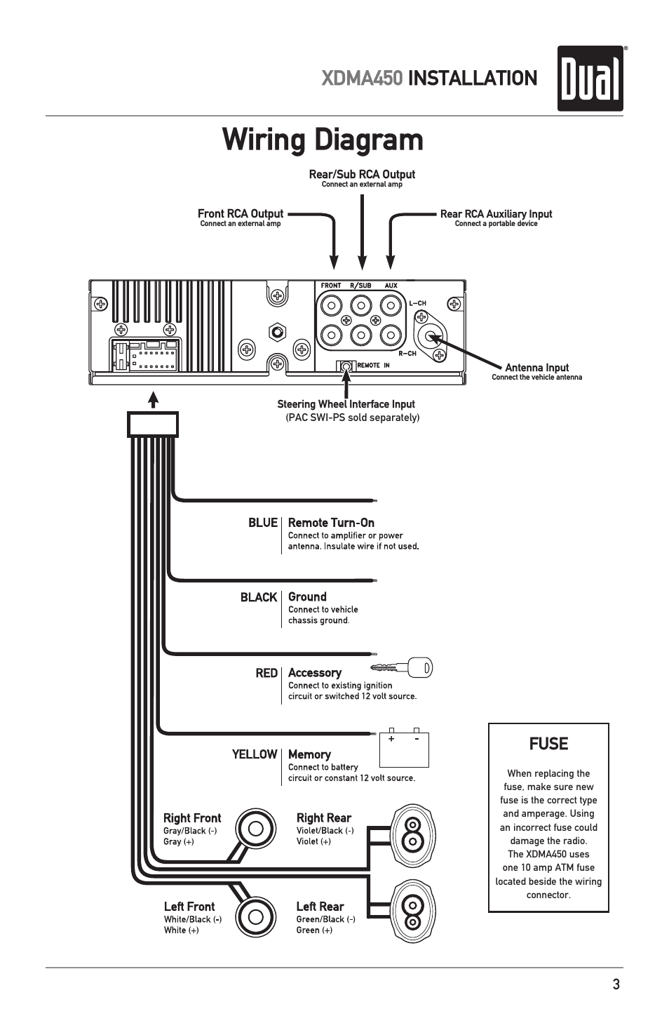 Wiring Diagram Xdma450 Installation Fuse Dual Electronics Without Subs And Amp User Manual Page 3 28