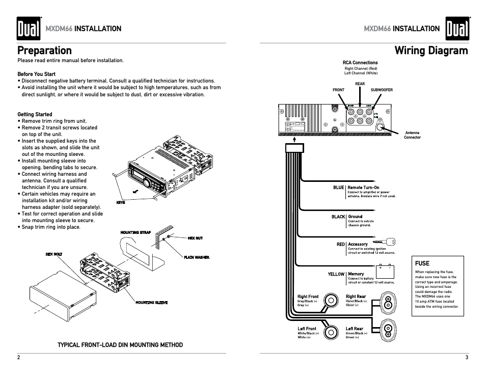 preparation, wiring diagram, mxdm66 installation | dual ... dual xd5250 car radio wiring diagram dual 12 pin radio wiring diagram