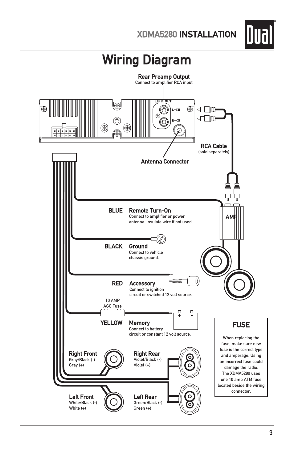 wiring diagram  xdma5280 installation  fuse