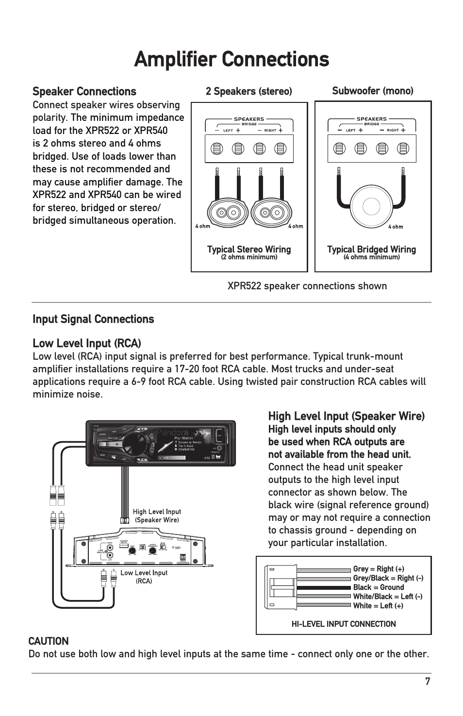 Amplifier connections, Speaker connections, Input signal connections low  level input (rca)   Dual Electronics XPR540 User Manual   Page 7 / 12manualsdir.com