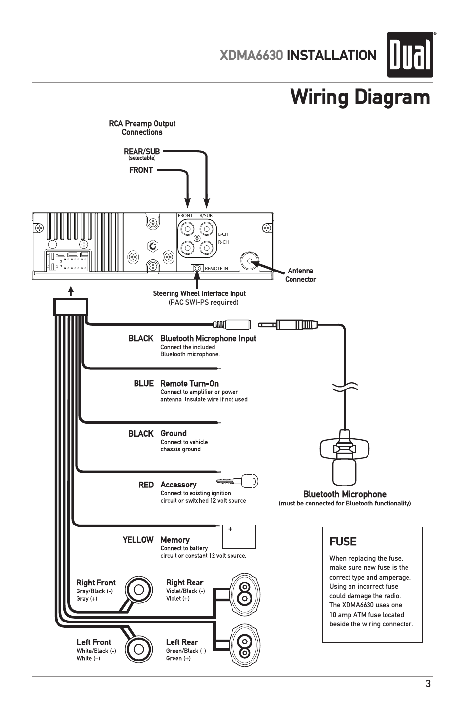 wiring diagram  xdma6630 installation  fuse