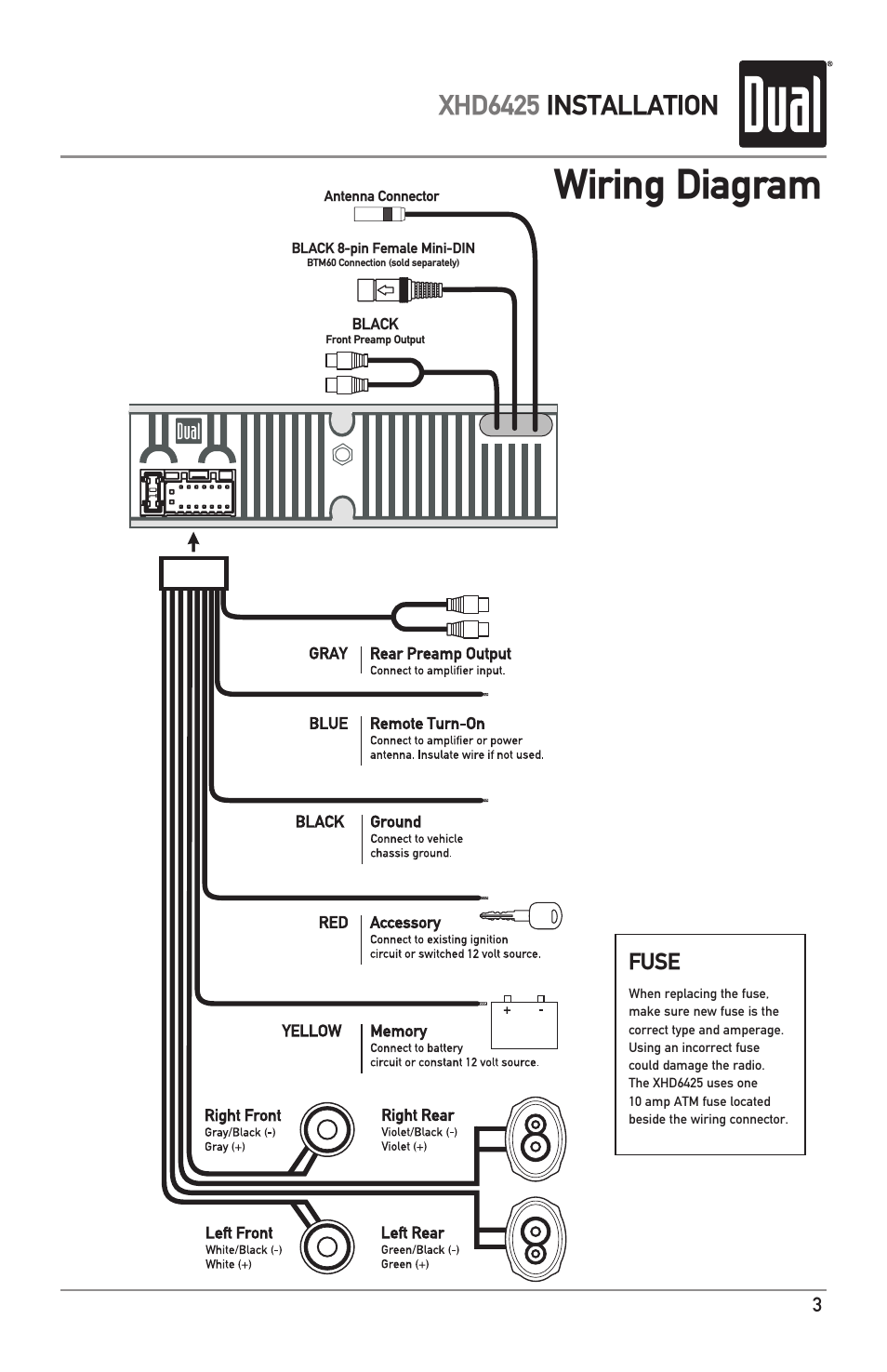 Wiring diagram, Xhd6425 installation | Dual Electronics XHD6425 User Manual  | Page 3 / 28