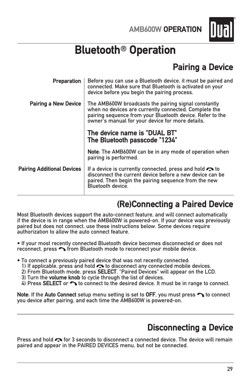 Bluetooth, Operation, Amb600w operation | Dual Electronics AMB600W