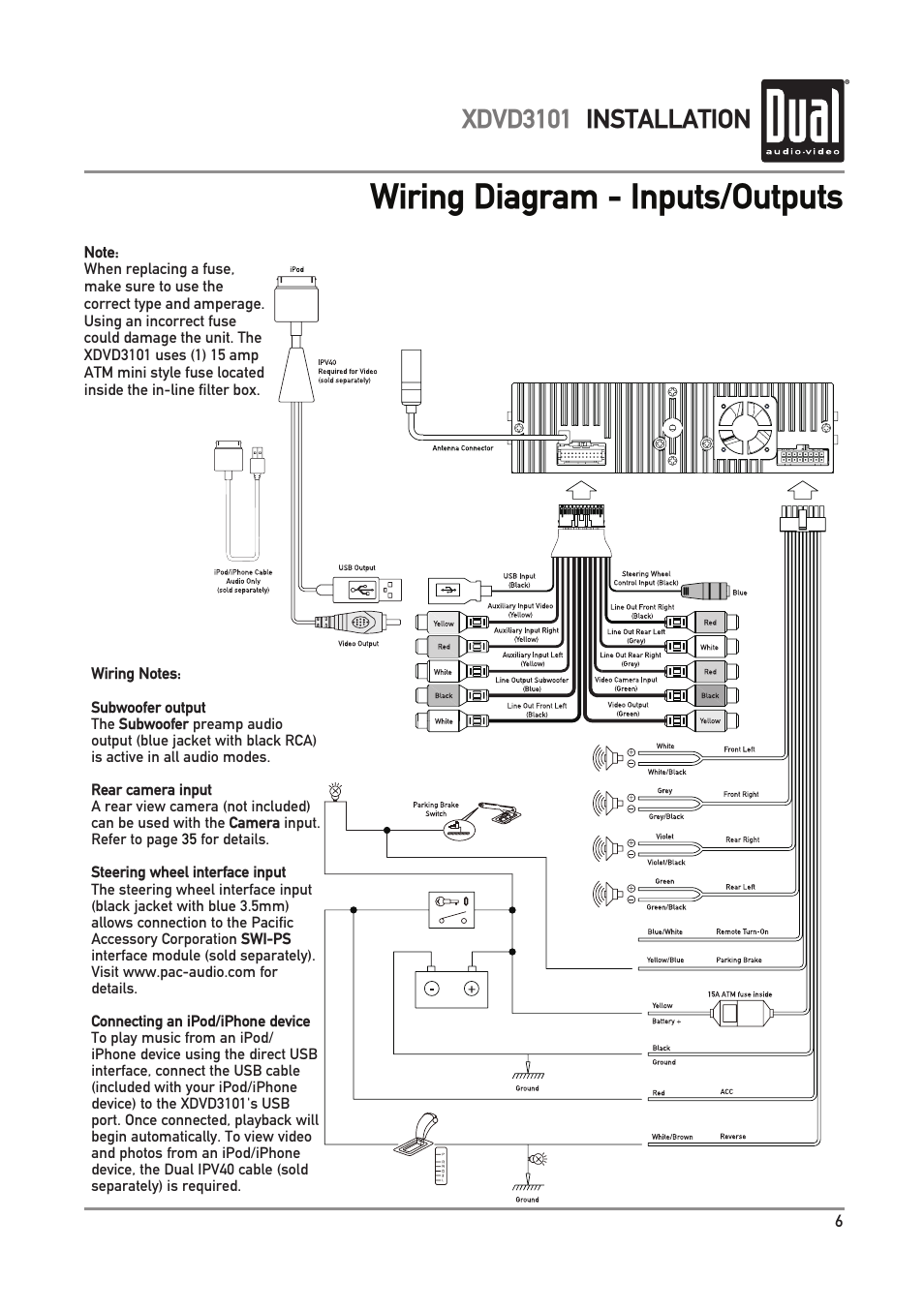 dual electronics xdvd3101 page7 wiring diagram inputs outputs, xdvd3101 installation dual pac audio tr7 wiring diagram at couponss.co