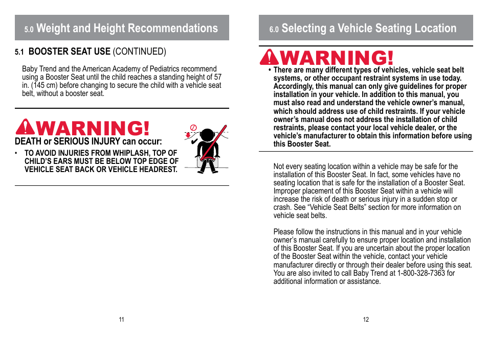 Warning Selecting A Vehicle Seating Location Weight And Height Recommendations