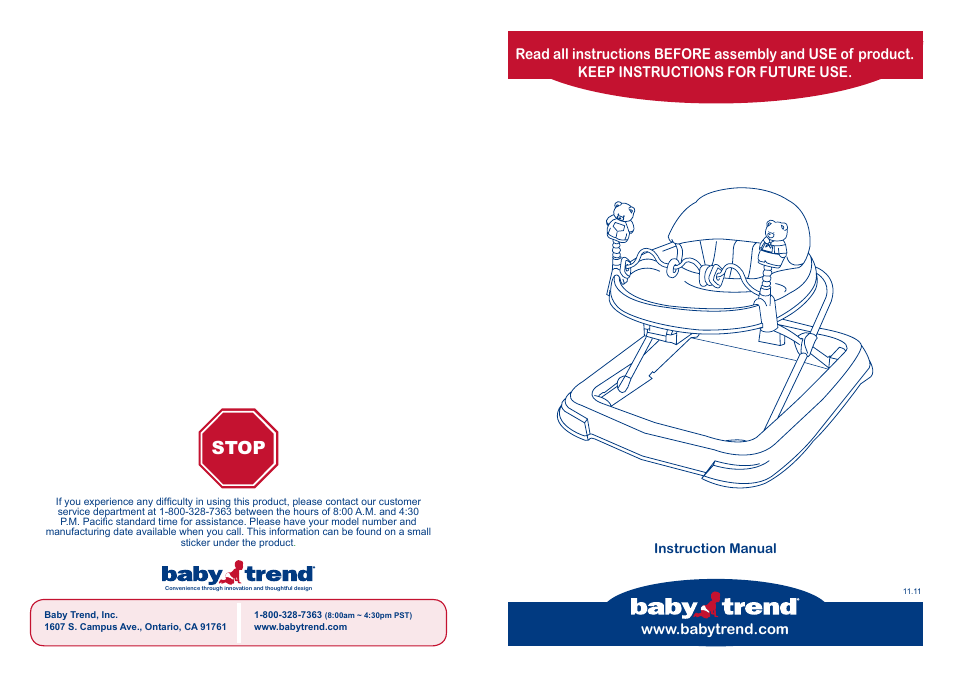 babytrend wk10980 trend walker hello kitty user manual 4 pages rh manualsdir com Baby Manual Book Baby Manual Book