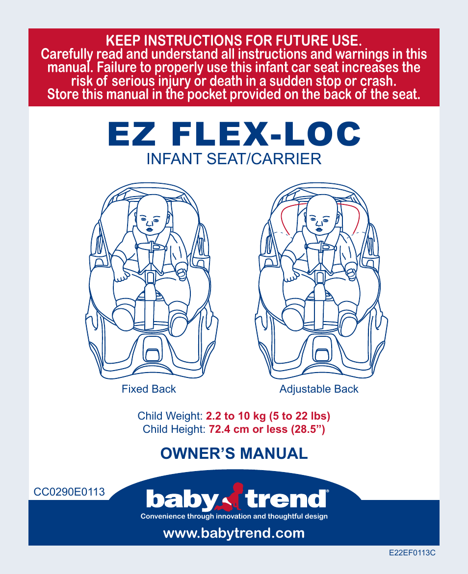 babytrend cc13700 ez flex loc infant car seat pomegranate user rh manualsdir com baby trend playpen manual baby trend expedition manual