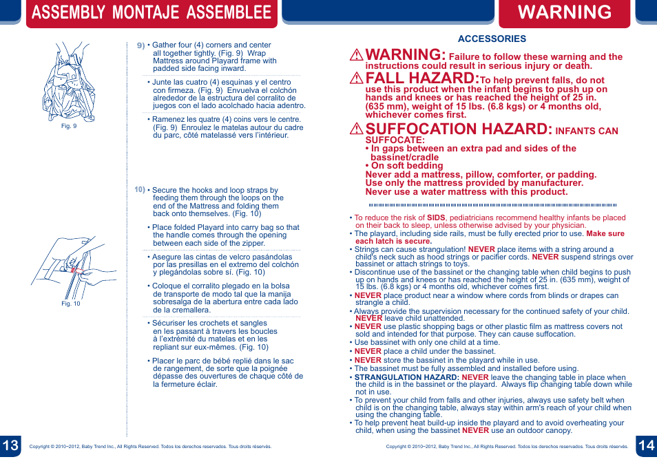 Assembly Montaje Assemblee Warning Fall Hazard