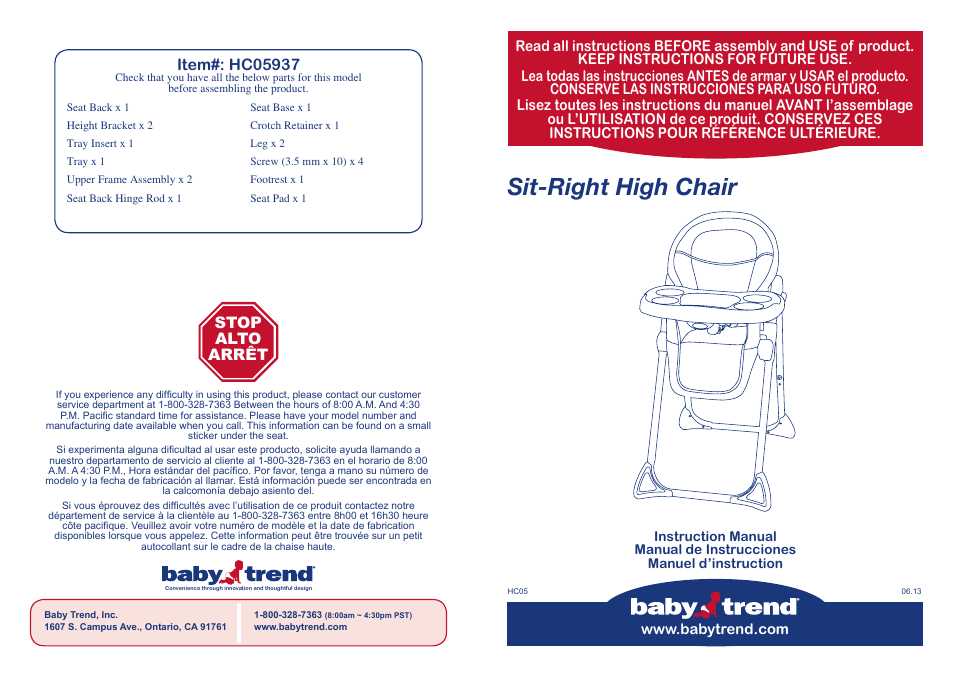 Babytrend Hc05713 Sit Right High Chair Mandy User Manual 14 Pages