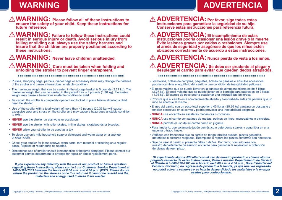 Warning Advertencia Babytrend Sg13105 Snap N Go Ex Universal