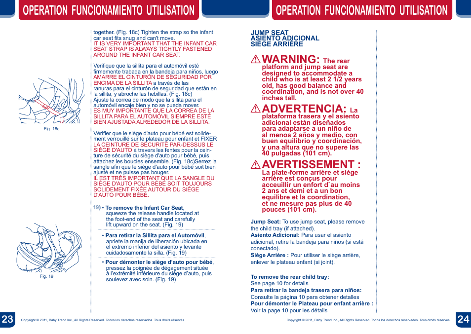 Warning Operation Funcionamiento Utilisation Advertencia
