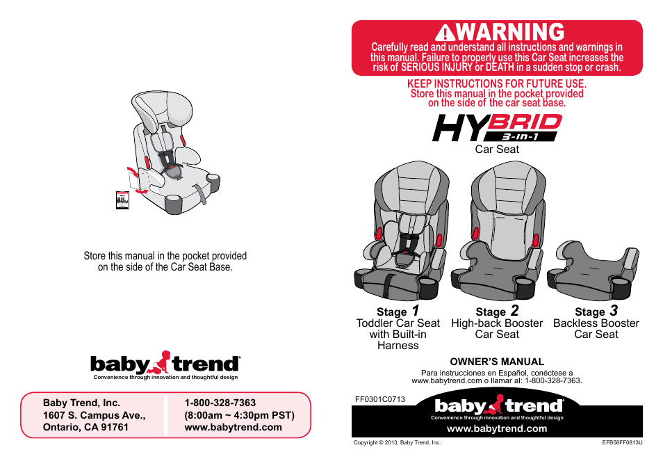 BabyTrend HYBRID 3 IN 1 User Manual